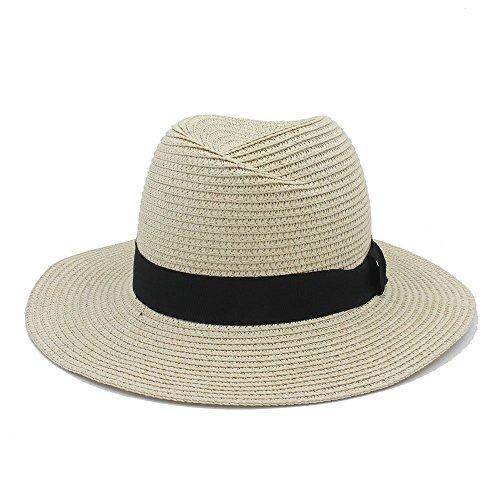 ZHAS Hut - Fashion Summer Elegant Big Wide Brim Panama Hut Queen Fedora Hat Beach Cap mit Bowknot Brim Fedora-hut