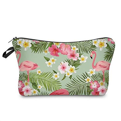 CAheadY Frauen-tropischer Flamingo-Blumen-Blätter-Stift bilden Kosmetiktasche-Reise-Versorgungsmaterial