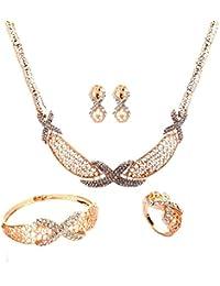 Yazilind chapado en oro Rhinestone cadena hueco sistemas de la joyería de la pulsera de los pendientes del collar X Colgante