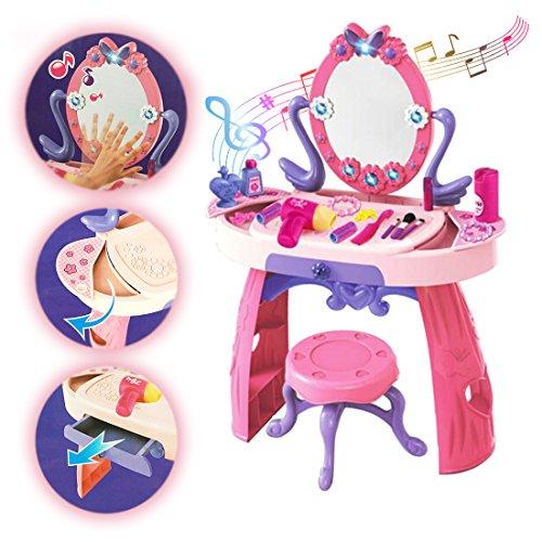 deAO-Mesita-Tocador-Princesa-Glamurosa-con-Espejo-Taburete-y-Accesorios-Incluidos-Efectos-de-Luz-y-Sonido