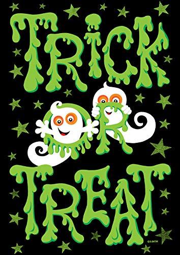 Toland Home Garden 1112239 Slimy Trick or Treat Deko, Herbst Halloween, Geist, Gartenflagge