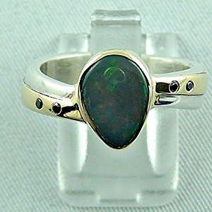 Massiver Silber - Goldring mit Black Opal und Diamanten