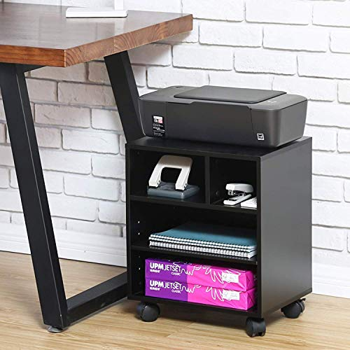 FITUEYES Bürocontainer Druckerständer Druckertisch Multifunktionswagen Schreibtischcontainer Drucker Ständer aus Holz schwarz PS404001WB -