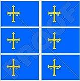 ASTURIEN Asturische Flagge SPANIEN Asturies Spanisch Asturiano 40mm Mobile, Handy Vinyl Mini Aufkleber, Abziehbilder x6 Stickers