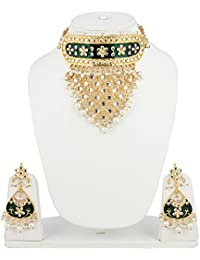 Aradhya Stylish Designer Green Onyx Choker Kundan Necklace Set With Earrings For Women