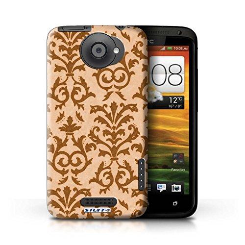 Kobalt® Imprimé Etui / Coque pour HTC One X / Rose conception / Série Motif de défilement Orange