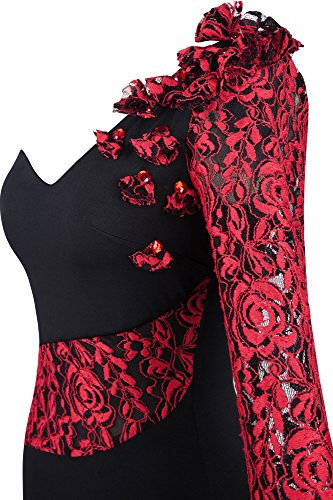 Angel-fashions Femme Un coup d'epaule Robe en dentelle Wrap train Rouge