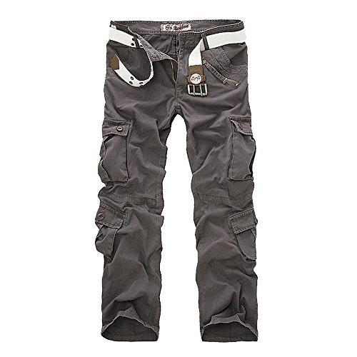 Ochenta - Pantaloni cargo in cotone, stile casual, ottima vestibilità, da uomo Grey