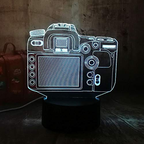BDQZ Neue Digitalkamera 3D RGB LED Nachtlicht Multicolor Kreative 7 FarbenUSB Schreibtischlampe Wohnkultur Weihnachtsgeschenk