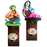TiedRibbons Wall Hanging Rajasthani Figurines On Wall Shelf With Tealight Hanger | Rajasthani Handicrafts Home Decor | Showpiece For Home Decore | House Warming Gift Set | Decorative Items For Office | Christmas Decor For Home