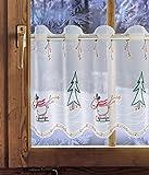Bestickte Scheibengardine RENTIER 41 cm hoch Plauener Spitze ® Weihnachtsdeko / Winterdeko / Fensterdeko