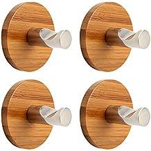 MOCRUX Ganchos Adhesivos 4pcs / paquete Bambú Acero inoxidable 304 3M Stick para la cocina casera (Redondo bambú)