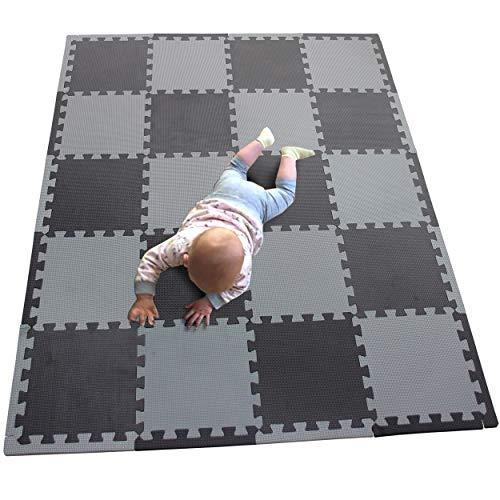 MQIAOHAM 20 Pieces Turnen Matten Tumbling Fitness Kleingeräte Gymnastikmatten Trainingsmatten Puzzlematten Bodenpuzzles Schwarz Grau 104112Z20