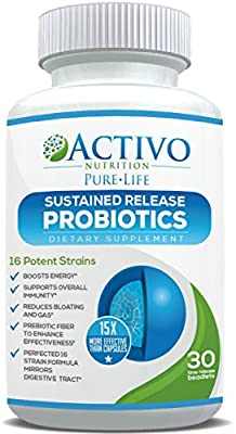 Probiotic Supplements with Patented Time Release Pearls - 15x More Effective than Capsules or Tablets - Best Proven Probiotics for Women, Men, Children to Improve Digestive Health, Immunity, Energy & Focus by Activo Nutrition
