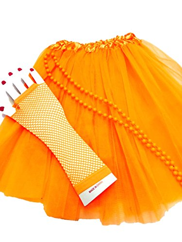 Ladies Orange Tutu Skirt with Fishnet Gloves and Beaded Necklace - Standard Size with elasticated waist