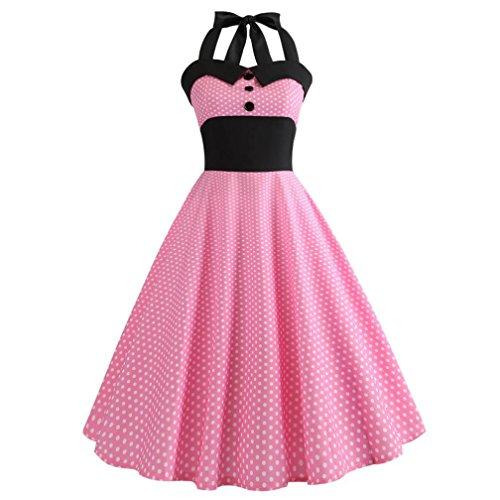 g Minikleid,SANFASHION Damen Vintage Druck Bodycon ärmelloses Halfter Prom Abend Party Swing Kleid (Rosa, XX-Large) (Mädchen Nachtwäsche Sale)