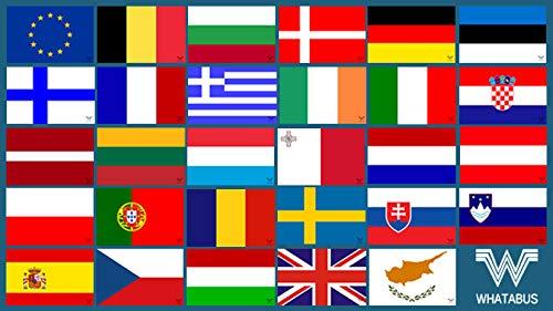 WHATABUS Aufkleber Set Alle Länderflaggen der Europäischen Union - 29 Sticker - Outdoor-flagge