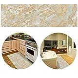 ChasBete 30 x 360cm Anti-Rutsch Wasserdicht Sicherheitsboden Aufkleber Dünne PVC Boden Decor Aufkleber für Küche Bad Dusche Fußmatte, Beige Marmor