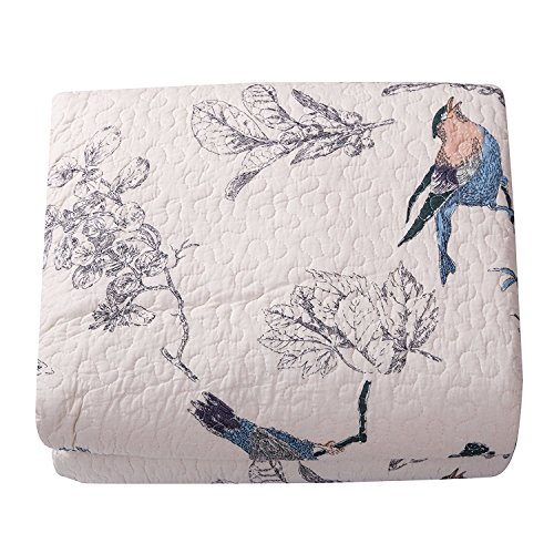 Beddingleer 100% Cotton Flying Birds Printing Quilted Patchwork Bedspread Throw Throws 1 Quilt Size: 175cm x 220cm. 1pcs Pillow Cover (Double Set of Two)
