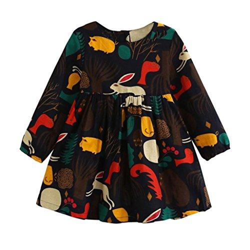Mode Mädchen Herbst Wald Tiere Karikatur Lange Hülse Kleid (100, Marine)