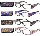 Eyekepper Gafas de Lectura Retangulares de Colores Bonitos con Bisagra de Resorte de 4 Pares +2.0