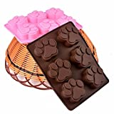 Baifeng - Molde de silicona para pasteles, patas de perro, gato, chocolate, galletas, fondant, bricolaje, molde para cupcakes, bandeja para hornear
