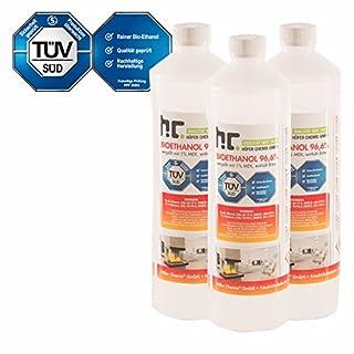 6 L Bio Ethanol Premium 96,6% (6 x 1 L) für Kamin - versandkostenfrei - in 6 sicheren 1 L Flaschen für den Gebrauch zuhause - TÜV SÜD zertifiziert