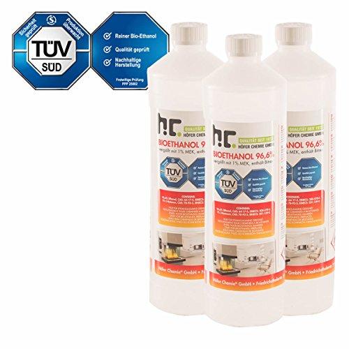 15 x 1 L Bio Ethanol Premium 96,6% für Kamin - versandkostenfrei - 1 L Flaschen für den sicheren Gebrauch zuhause - TÜV SÜD zertifiziert