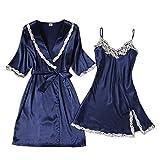 Xuanli Damen V-Ausschnitt Nachtwäsche Kleid Sleepwear 2 Stücke Satin Elegante Bademantel Schnürsenkel Roben(Navy-X-Large)