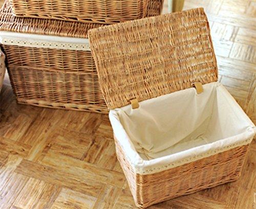 Einfache Schmutzige Kleidung Bambus Rattan Weiden Handgewebte Speicher Körbe Stoff mit Deckel Abnehmbare und Waschbare Schlafzimmer Aufbewahrungsbox Großen Haushalt,M Rattan-speicher-körbe