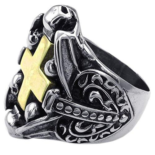 KONOV-Joyera-Anillo-de-hombre-Gtico-Calavera-Crneo-Cruz-Acero-inoxidable-Color-oro-negro-plata-con-bolsa-de-regalo
