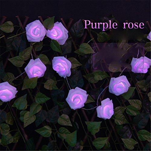 Preisvergleich Produktbild Neu 20 LEDromantische Rosen Blumen beleuchten Hochzeit Garten Party Weihnachtsdekoration Schnur Licht Lampe(Lila)