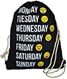 Sacca zaino sacchetto della cassa con cordino Emoticon Emoji modello Smileys Sport sacchetto Gymsack sport borsa Smile Emoticon smiley Stampa Hipster Sack, nero
