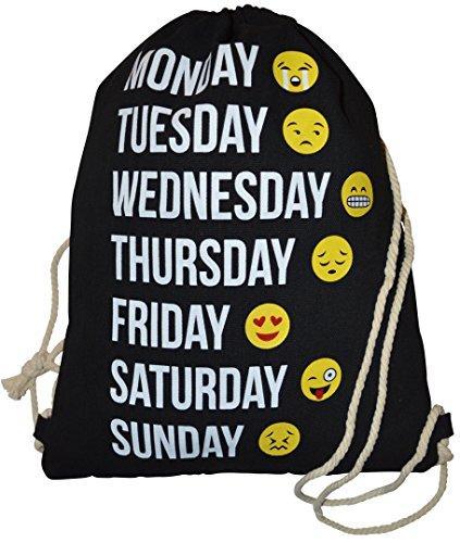 Imagen de turn bolsa  bolsa con cordón emoticons emoji patrón smileys bolsa de deporte bolsa de deporte bordar smiley emoticon aufdruck hipster saco, negro
