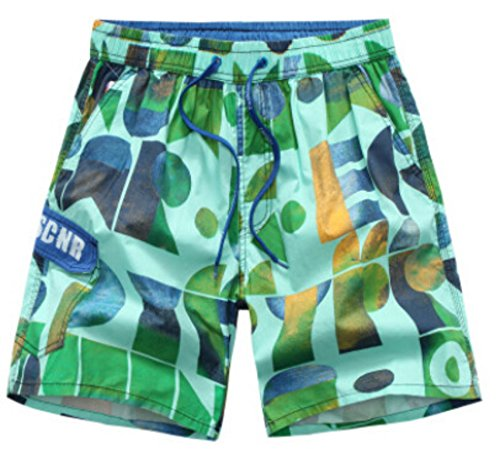 Men's Printed Cotton Loose Casual Beach Shorts green