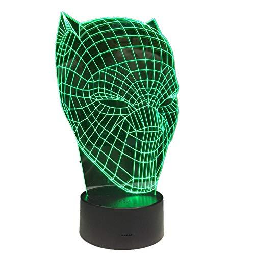 �r Kinder / 3d Illusion Nachtlicht / 3d Optische Täuschung Tischlampe / 7 Farblicht/weihnachten Halloween Geschenk/Black Panther ()