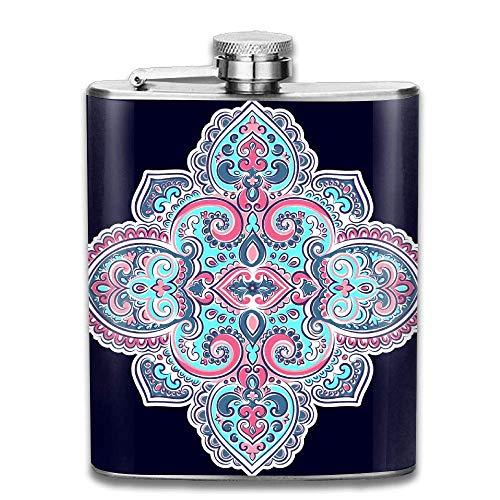 Hüftflaschen Presock, Beautiful Indian Indian Mandala 304 Food Grade Stainless Steel Flask 7 Oz Best Birthday Gift Present for Women Men