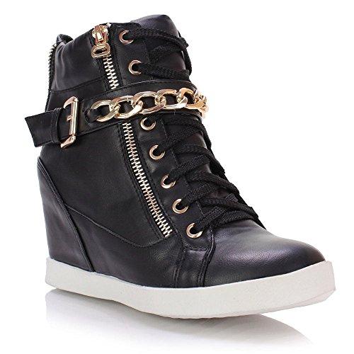 Femmes Basse À Lacets Plat Semelle Compensée Baskets Chaussure Noir