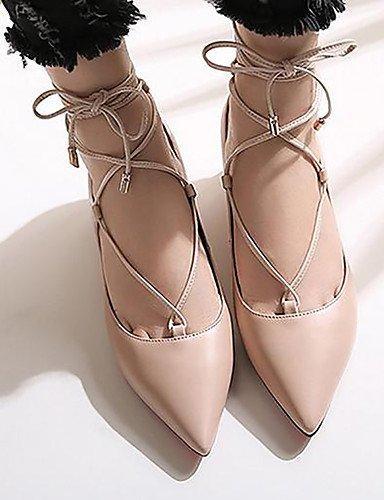 WSS 2016 Chaussures Femme-Habillé-Noir / Amande-Gros Talon-Bout Pointu / Bout Fermé / Confort-Talons-Similicuir almond-us6.5-7 / eu37 / uk4.5-5 / cn37