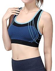 Laixing Buena Calidad WX09 Women Seamless Racerback Padded Sports Bra Yoga Fitness Stretch Tank Top