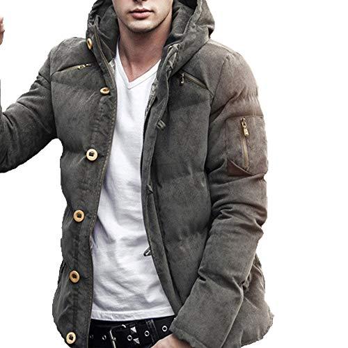 VRTUR Herren Mantel Herbst Winter Pure Farbe Tasche Reißverschluss Mit Kapuze Jacke Kappen Oben Parka Jacke Steppjacke Oberteile Outwear(XL,Armeegrün)