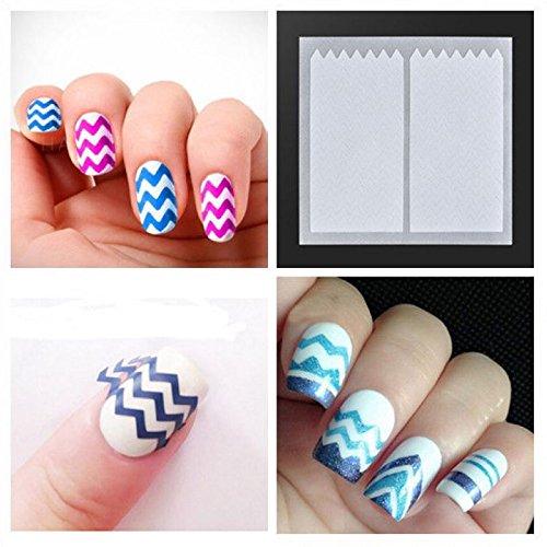 Lot 10Paquet Tips Guide Français Ondulée Sticker Autocollant Ongle Deco Manucure Nail Art