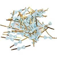 50pcs Lazos Decorativos Alambre Metálico para Bolsas de Dulces Galleta Color Azul