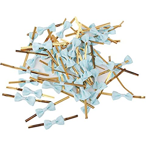 Approx.50pcs Rose Bowknot Gift Wrapping Metallic Twist Ties for Party Bakery Cookie Candy Bags Light Blue by Generic
