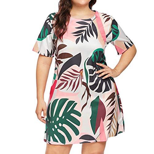 FeiXing158 5XL Sommerkleid Für Sexy Plus Size Leaves Print Chiffon Kleid Girl O Neck