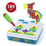 LBLA 4 in 1 Spielzeug Set, 189 PCS Kreative Puzzles Montage DIY Spielzeug, BAU Gebäude Spielzeug mit Aufbewahrungsbox, Design und Bohrer Aktivität Center BAU Gebäude Spielzeug