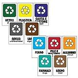 kamiustore Pack di 10 Cartelli Adesivi 13,5 x 20 cm Raccolta differenziata + Rifiuti Speciali - Vetro, Plastica, Umido, Carta, Indifferenziata, Ferro, Pile e batterie, Alluminio, Farmaci, Legno