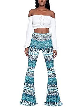 Pantalones Acampanados Estampados Modernos Mujeres Elegante Autocultivo Cintura Alta Pantalón