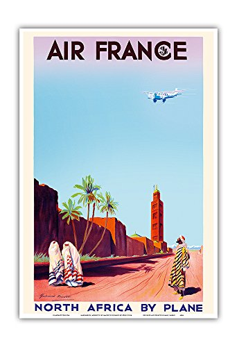 marrakech-morocco-north-africa-by-plane-air-france-vintage-airline-travel-poster-by-maurice-guiraud-
