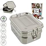 homeAct - Lunchbox Bento in Acciaio Inox, 3 Pezzi, a Prova di perdite, sostenibile e Sano, per Scuola, università, Lavoro e Campeggio, ricetta per e-Book Gratuita